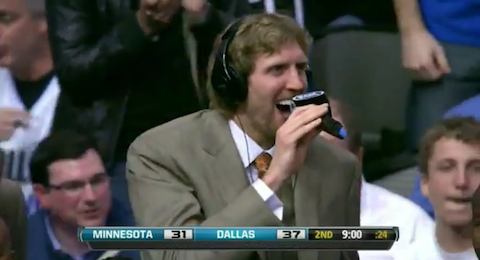 Dirk Goes Nuts After Jason Terry's Lob To Brandan Wright