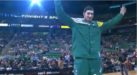 enes kanter utah jazz mic drop video