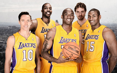 Steve Nash, Dwight Howard, Kobe Bryant, Pau Gasol, Metta World Peace