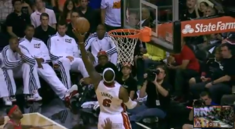 lebron james follow up dunk