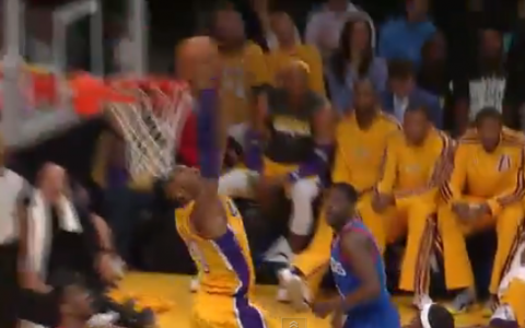 Kobe Bryant Throws Down A Monster Reverse Dunk