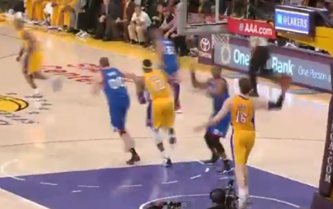 Pau Gasol Launches A Football Pass to Kobe Bryant