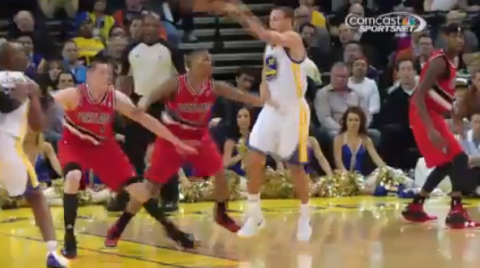 Stephen Curry Launches A Perfect Pass