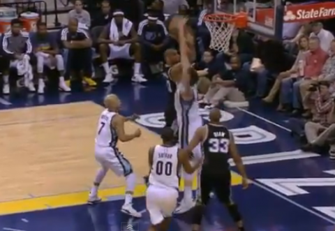 Marc Gasol Double Stuffs Tim Duncan
