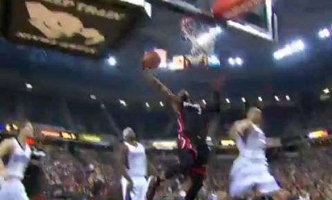A LeBron James Skip Pass Leads To A Dwyane Wade Slam