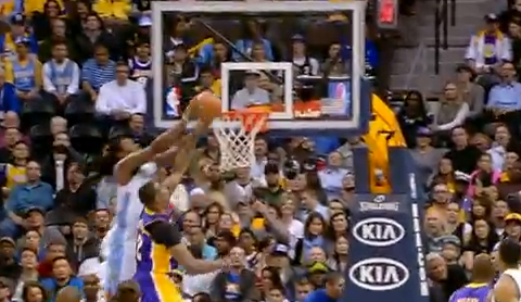 Kenneth Faried Catches An Alley-Oop On Dwight Howard's Head