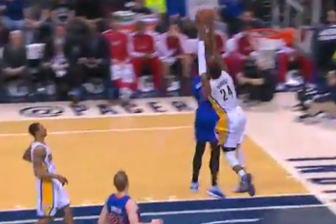 Paul George's Incredible Two-Handed Block