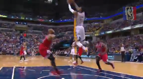 Paul George Catches a Reverse Alley-Oop Dunk