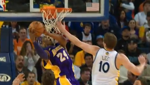 Kobe Bryant's Crazy Throwback Double-Clutch Reverse Dunk