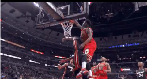 Check Out Jimmy Butler's Huge Alley Oop Dunk on Chris Bosh's He…