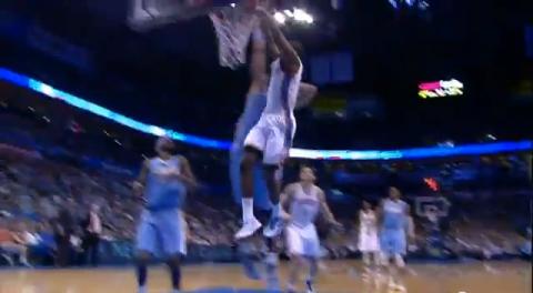 Oklahoma City's Reggie Jackson Put a Two-Hand Dunk on JaVale Mc…