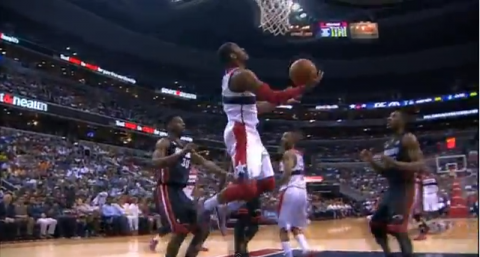 John Wall Hit a Circus Alley-Oop Reverse Scoop Against the Miam…
