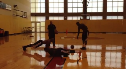 LeBron James Makes Ray Allen and Mario Chalmers do Pushups at P…