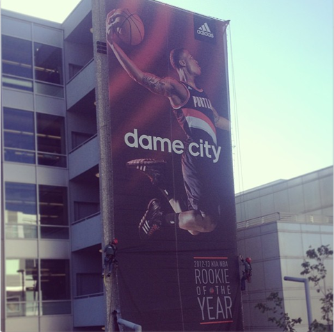 adidas Honors Damian Lillard With A Giant Banner