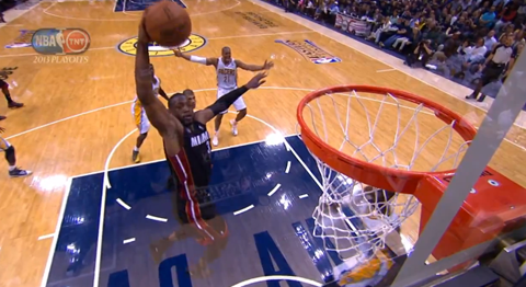 Dwyane Wade Skies For A Sick Dunk Through The Middle Of Indiana…