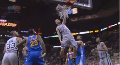 Manu Ginobili Unleashed a Monster One-Hand Dunk on the Warriors…