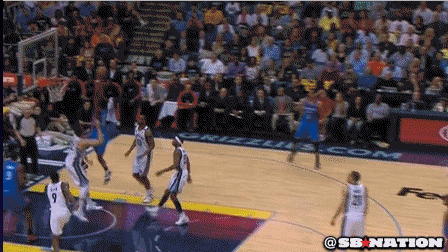 Thunder's Reggie Jackson Slices Down the Lane for a Huge Slam