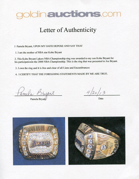 Purchase Kobe Bryant's 2000 Championship Ring For The Low Price…