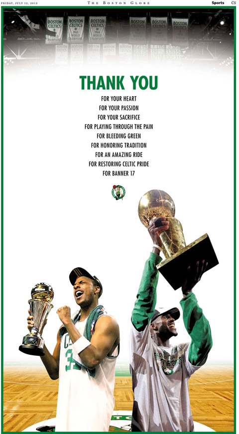 Celtics Take Out Monster Full-Page Ad To Thank Kevin Garnett &a…