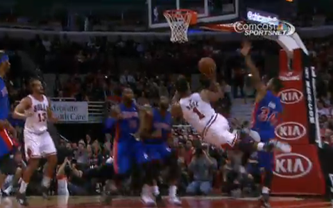 Derrick Rose Drops 22 Points In 22 Minutes Including This Tough…