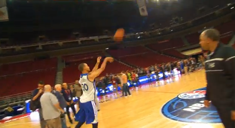 Watch Stephen Curry Casually Drain A Shot From Well Beyond Half…