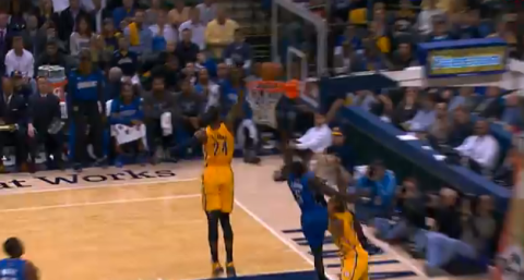 Paul George Introduces Victor Oladipo To The NBA With A Block T…