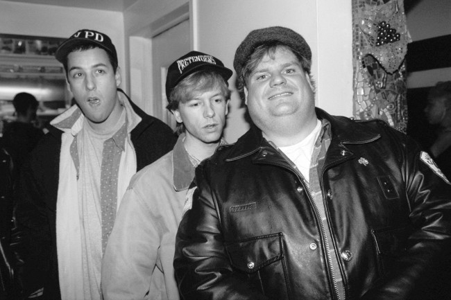 Adam Sandler, David Spade and Chris Farley (l. to r.) arrive