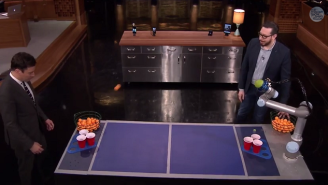 Watch As Jimmy Fallon Attempts To Defeat A Robot In A Game Of Beer Pong