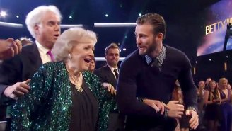Chris Evans continues to prove he's actually Captain America, escorts Betty White to stage