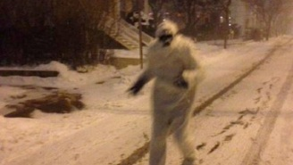 At Least One Stray Yeti Is Wandering The Snowy Streets Of Boston