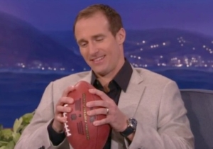 Watch Saints Quarterback Drew Brees Discuss #DeflateGate And Knock Out Some Lights On 'Conan'