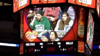 Watch Benny The Bull Steal A Kiss From A Celtics Fan's Girlfriend On Kiss Cam