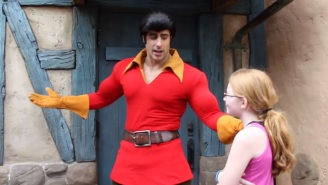 Watch This Adorable Little Girl Challenge Disney World's Gaston To An Arm Wrestling Match