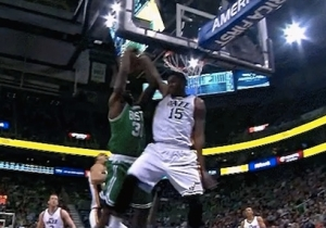 Video: Derrick Favors Goes All-Out For Epic Block Of Brandon Bass Dunk