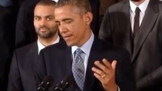 Video: Kawhi's Stone Face After Prez Obama Cracks Bonner Blogging Joke