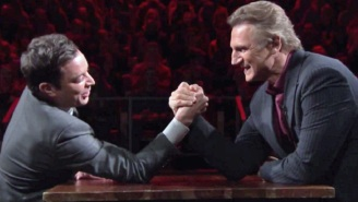 Liam Neeson Took His Particular Set Of Arm Wrestling Skills To Jimmy Fallon