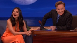 Olivia Munn Tells Conan About How Johnny Depp Had To Grab Her Boob All Day