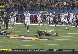 Here's Baylor's Kicker Getting Absolutely Annihilated By A Michigan State Defender In The Cotton Bowl