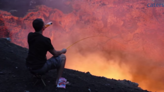 Watch This Guy Roast A Marshmallow Over An Active Volcano