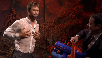 Watch Chris Hemsworth Get Hosed Down By Jimmy Fallon After A Game Of 'Water War'