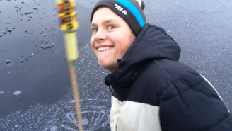 This Is What Happens When You Shoot Fireworks Underneath Lake Ice