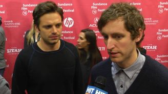 Sebastian Stan can't out-fox Thomas Middleditch on 'The Bronze' red carpet