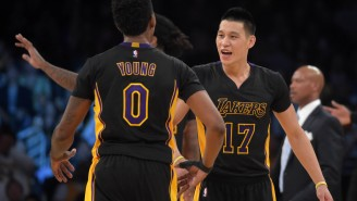 Nick Young & Jeremy Lin Perform Abbott & Costello Comedy Stylings At Event
