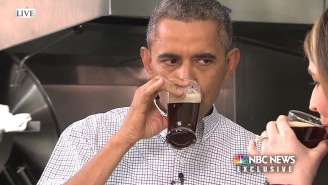 Here's President Obama Drinking A Beer With His Pinky Up
