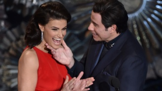 John Travolta Claims He Mispronounced Idina Menzel's Name Because 'Sexy' Goldie Hawn Distracted Him