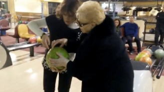 Watch This Little Old Bowling Italian Grandmother Get A Strike On Her First Roll Ever