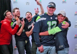 Watch Chris Pratt, Chris Evans, And Jimmy Fallon Hilariously Photobomb People At The Super Bowl