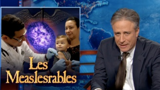 Jon Stewart Skewered The Media's Coverage Of The Measles Outbreak On Last Night's 'Daily Show'