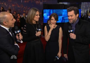 Jim Carrey Made An Awkward Brian Williams Joke On NBC's #SNL40 Red Carpet