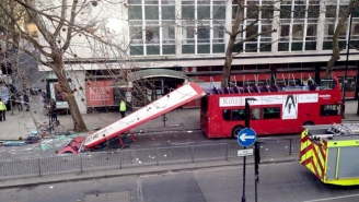 Holy Sh*t, This London Double Decker Bus Had Its Roof Torn Clear Off By A Tree Branch